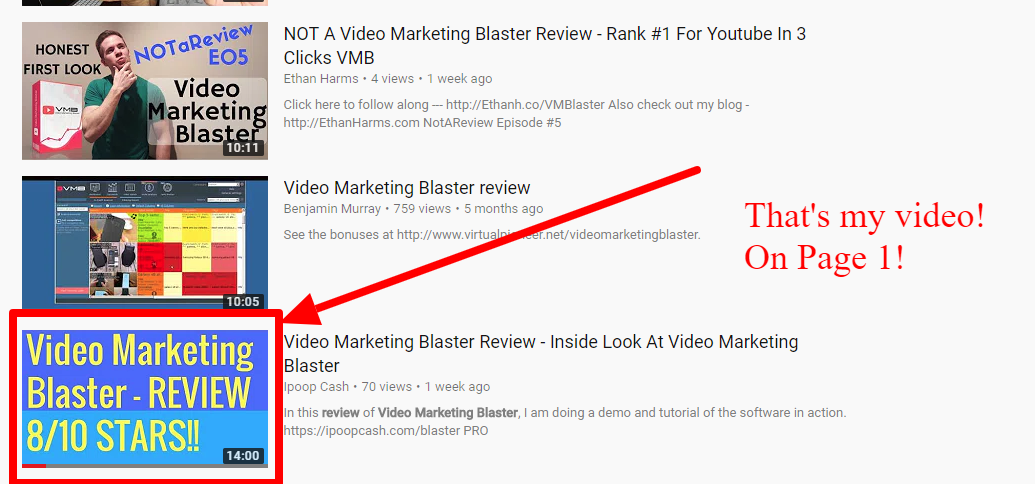 using video marketing blaster to rank videos