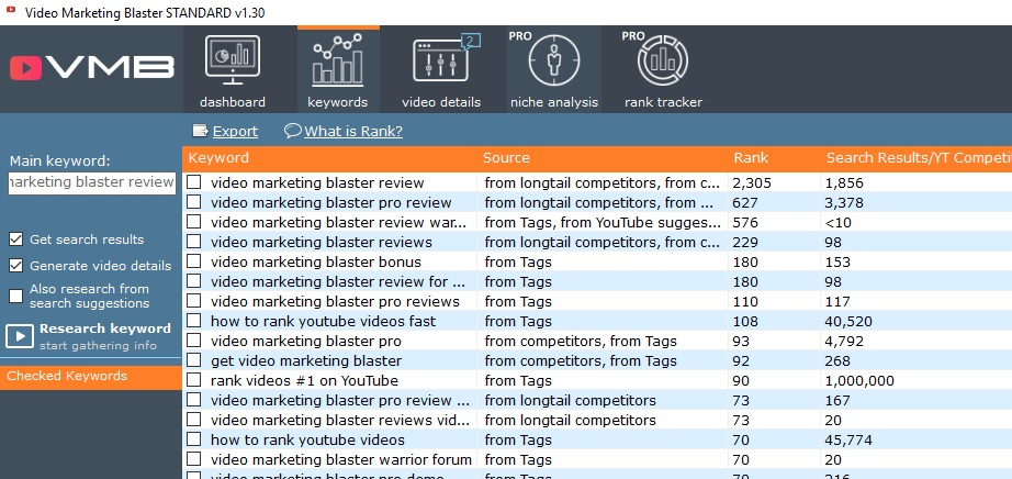 video marketing blaster keyword research