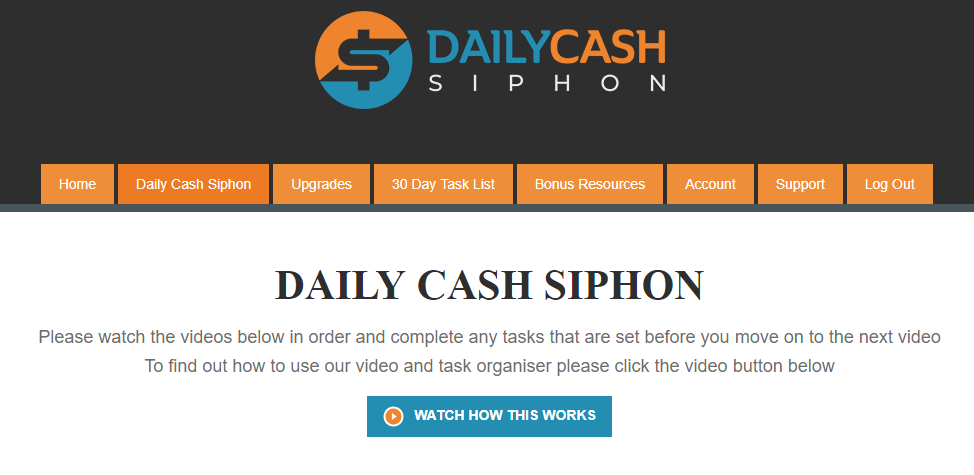 Daily Cash Siphon inside members area