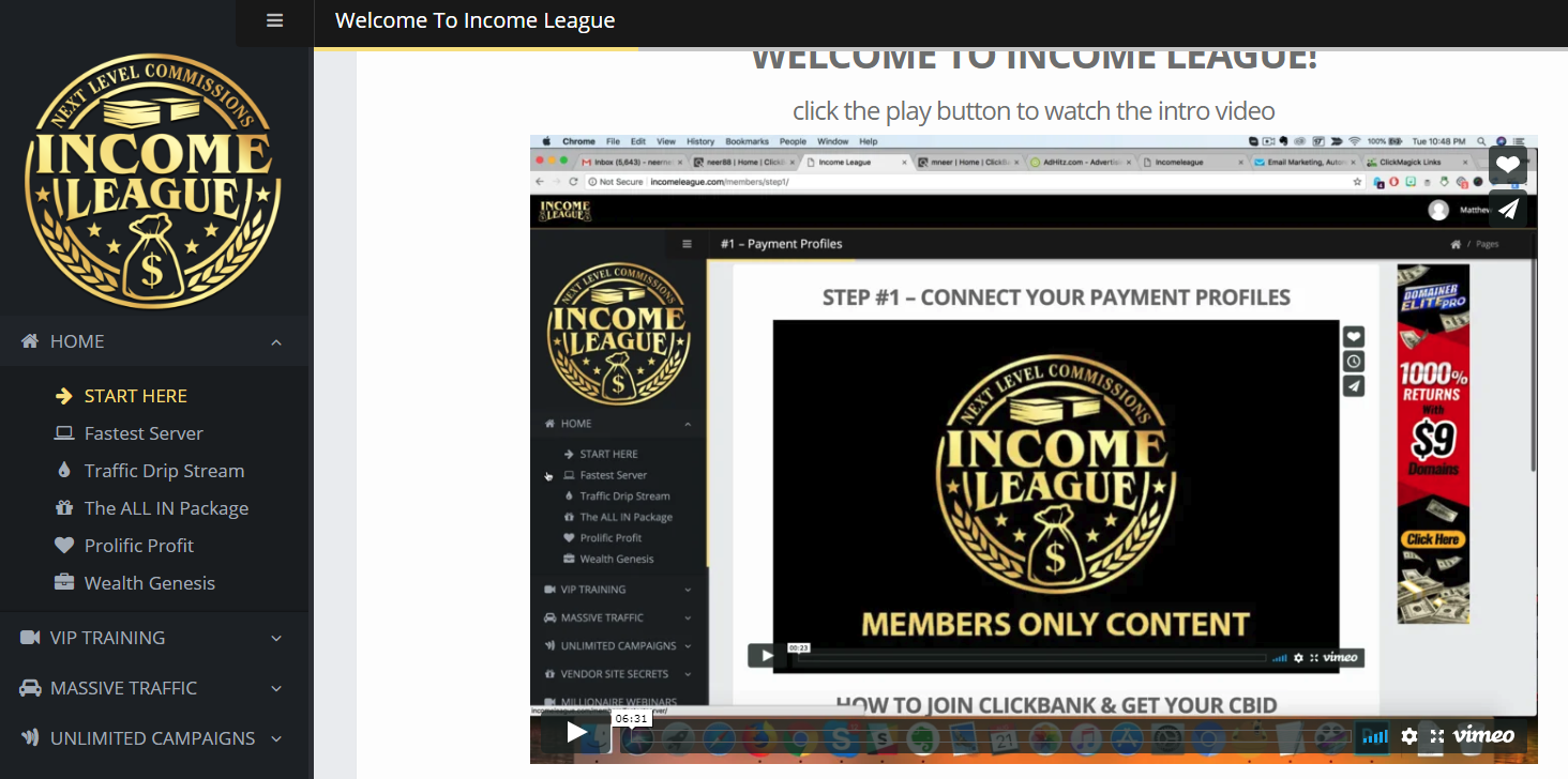 Income League inside the members area