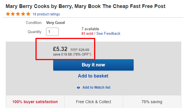 Mary Berry Cooks price comparison ebay vs magpie