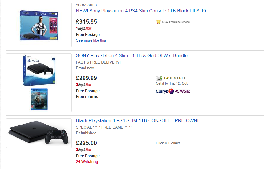 sony playstation 4 magpie vs ebay comparison